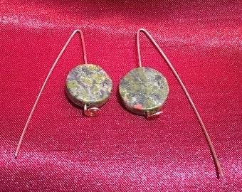 Green stone & copper earrings