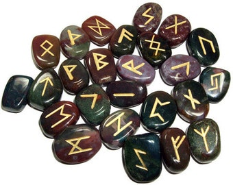 BLOODSTONE Runes Set for reiki healing, complete with pouch wicca pagan spirituality rune stones tumbled stones