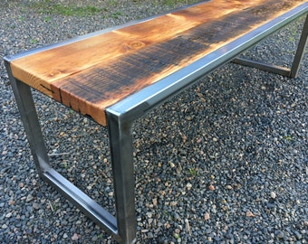 Industrial bench. Reclaimed coffee table. Old wood table. Reclaimed wood bench. Rustic bench. Entry bench.