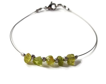 Peridot bracelet, handmade jewelry, silver bracelet, natural stone jewelry, genuine peridot jewelry fashion jewelry handmade bracelet shiny