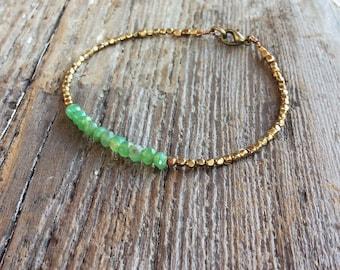 Beaded bracelet - gemstone beaded bracelet -  chrysoprase   bracelet - dainty beaded bracelet - stacking bracelet