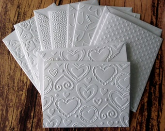 Assorted Valentine's Day Cards, Set of 5, White Embossed Love Note Cards, Heart Cards, Variety Pack, Love Stationery, Unisex Valentine Cards