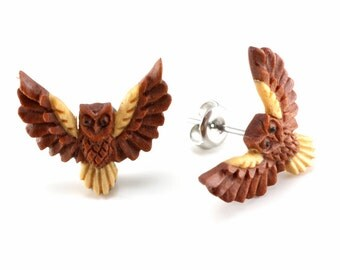 "Hand Carved - ""Winged Owl"" - Sabo Wood with Jackfruit and Ebony Wood Inlay Stud Wood Stud Earring"