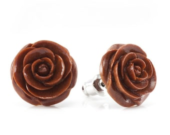 "Hand Carved - ""Chocolate Rose"" - Wood Stud Earring - Urban Flowers"