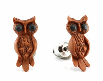 "Hand Carved - ""Art Owl"" - Sabo Wood with Ebony Wood Inlay - Stud Earring - Wisdom of Owls"