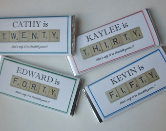 Milestone Birthday Candy Bar favors with Hershey bars-scrabble tile-30th birthday-40th birthday-50th birthday-60th birthday-70th birthday