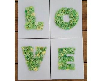 Love button art, Green button art, buttons on canvas, nursery button art, baby shower gift, button canvas, playroom decor, nursery decor