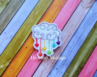 Rainbow rain cloud feltie, UNCUT