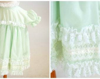 Baby Girl Dress, Green Lacy Baby Dress, 1970s, Baby Clothes, 12 Months