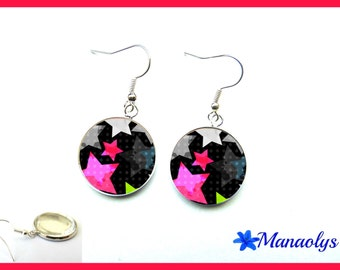 Pink stars, glass cabochons earrings