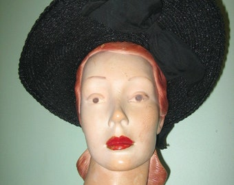 1940's Black Straw Wide Shovel Brim Hat with Large Under-brim Bow