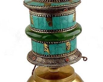 MILL A Buddhist prayers in jade table wheel dharma impermanence meditation ritual chenrezi mantra compassion om mani pedme hum 3988.1