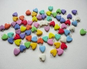 6 Pastel Heart Charm, pastel heart beads, porcelain heart beads, clay heart beads, tiny heart charms, tiny heart beads, clay heart charms