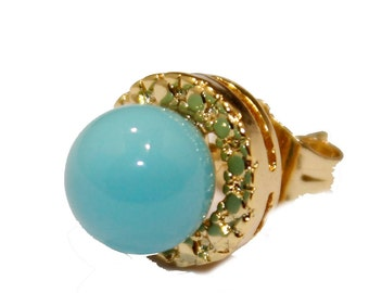 Turquoise Round Ball 10mm 18k Gold Plated Stud Earrings - Turquoise Stud Earrings