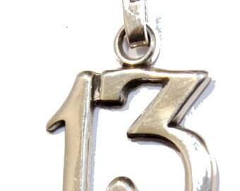Lucky 13 Talisman Good Luck Pendant .925 Sterling Silver - Thirteen Pendant