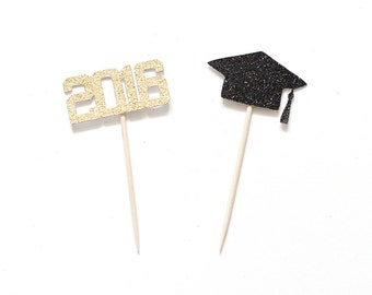 12 Graduation Cupcake Topper - ANY COLOR - Glitter- Class of 2016 Graduation Party - Cap