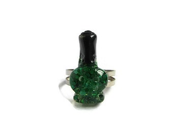 Nail Polish Jewelry - Nail Polish - Adjustable Ring - Sequin Jewelry - Green Ring - Stylist Items - Beauty Items - Stylist Gifts - Cute Ring