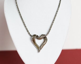 Retired brighton etsy sale vintage authentic brighton open heart necklace two tone silver gold heart pendant on mozeypictures Images