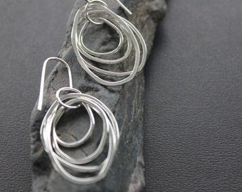 """Multi Loop Sterling Silver Earrings. Long Dangle Earrings. """"Array Earrings -Long""""."""