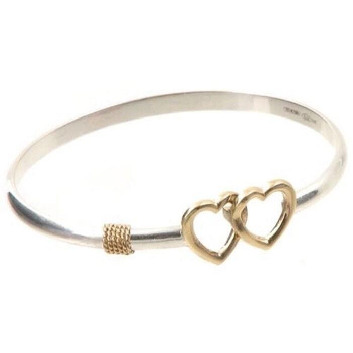Cape Cod Double Heart Bangle Bracelet Sterling Silver