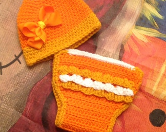 Diaper set! Candy Corn Hat With  Ruffle Diaper One of a kind only  one  made !!!!!FREE SHIPPING!!!