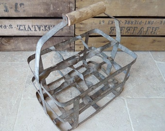 french vintage bottle carrier holder