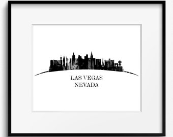 Las Vegas Skyline Black and White Curved Watercolor Art Print (802) Cityscape Nevada