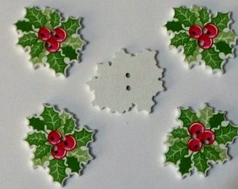 5 Christmas Holly Berry Buttons  - #C-00057