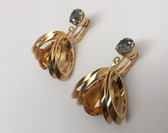 Stunning Vintage Citrine & Grey Rhinestone Gold Tone Dangle Earrings