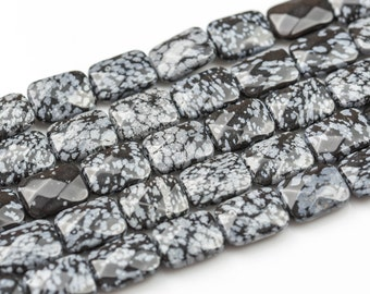 Snow Flake Obsidian- Facerted Rectangular Beads-12x16mm- 13 Pieces- Special Shape