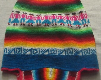 Hand knitted, earflap chullo, beanie hat cap, shaman, ethnic, made for ceremony, with andean designs