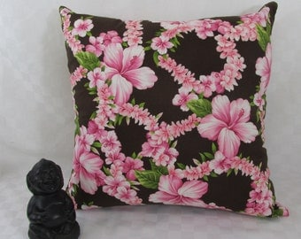 Hawaiian Pink Hibiscus Floral Print on Brown Background, Pillow Cover, Home Decor,  Home Textile