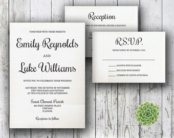 Printable Wedding Invitation PDF Set Instant Download - Traditional Wedding on Creme Canvas (Choose Your Text Color!)