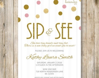 Gold Glitters SIP and SEE Invitation, Gold Pink Sip & See Party Invite, Meet the Baby, Baby Girl Shower, Diy Printable Digital