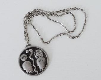 Jorgen Jensen 'Adam and Eve' Pewter Necklace - 1970s Modernist Jewelry - Made in Denmark