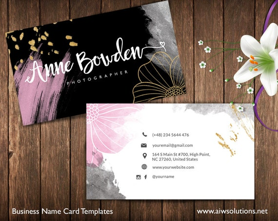 Gold And Pink Business Cards Name Card Template Cute - Print at home business card template