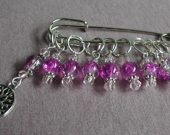 Knitting Stitch Markers Tree of Life Pink Glass Beads Handmade Set of Nine Gift