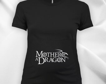 Mother of a Dragon Ladies Maternity scoop neck fine jersey tee, expecting mom, women's t-shirt, maternity tops, pregnancy t-shirt CT-727