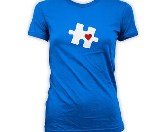 Autism Awareness Shirt - Puzzle Piece Heart Design, Autistic Gift for Friends Family Mens Womens Kids T-Shirts. CT-029 'Heart Location'