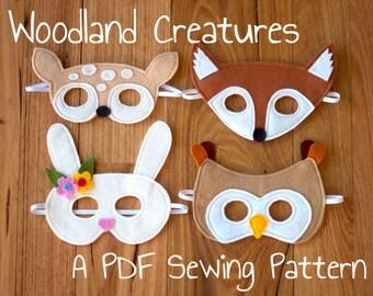 Woodland Animals (Fox, Fawn, Bunny and Owl) Felt Mask PDF Sewing Pattern and BONUS Printables
