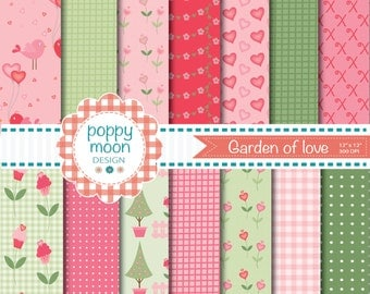 Garden of love digital paper pack