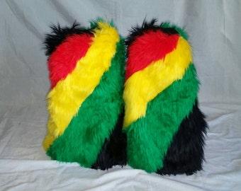 Rasta fluffies! Rasta leg warmers! 420 fluffies! Festival fluffies! Rave fluffies. Bob Marley