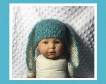 LittleBits Newborn Baby Crocheted Blue Kid Mohair Floppy Eared Easter Bunny Beanie - Australia