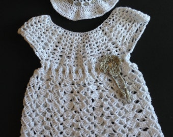 2 Pieces Crochet White Baby Dress and Hat with Flower