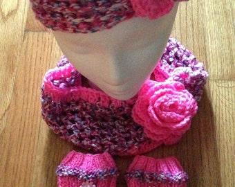 3 Set Hot and Cheerfull Pink Crochet Headband, Infinity Scarf and Boot Cuffs, Girls 3 set Crochet for Gift