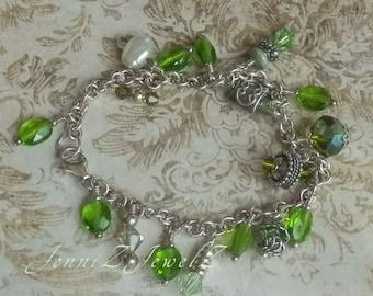 Silver & Green Charm Bracelet