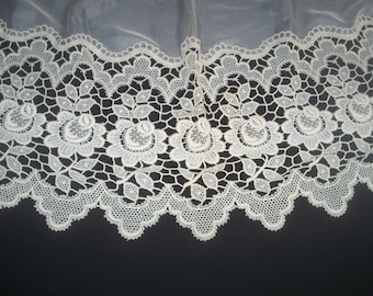 "Vintage Ivory Lace and Sheer Window Valance 59"" x 28"" Curtain Window Treatments"