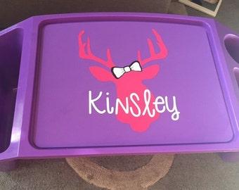 Personalized deer head kids lap desk, plastic lap tray