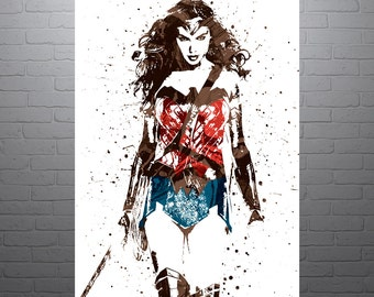 Wonder Woman Batman v Superman Movie Poster, Art Print, Kids Decor, Watercolor Contemporary Abstract Drawing Print, Man Cave