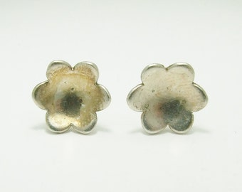 Vintage 925 Sterling Silver Concave Flower Stud Earrings